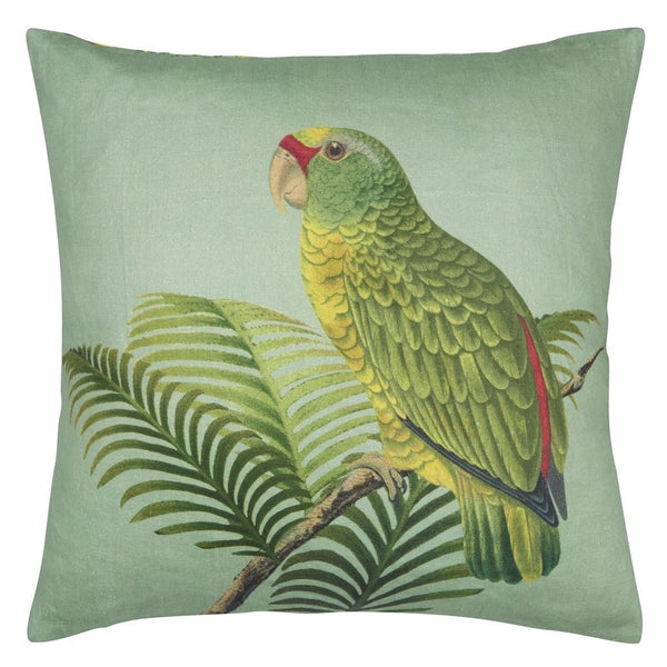 John Derian - Parrot and Palm Azure Decorative Pillow - Reverse