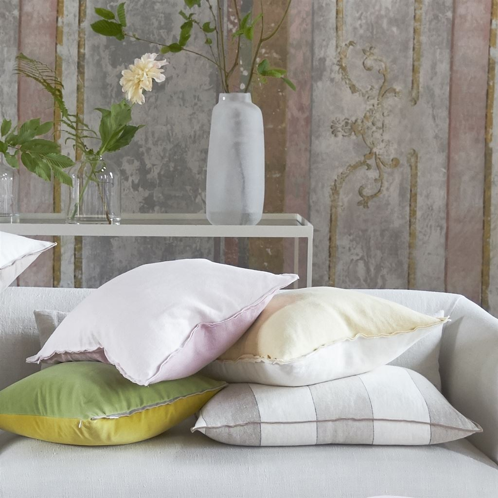Brera Gessato Natural Decorative Pillow with other Pillows.