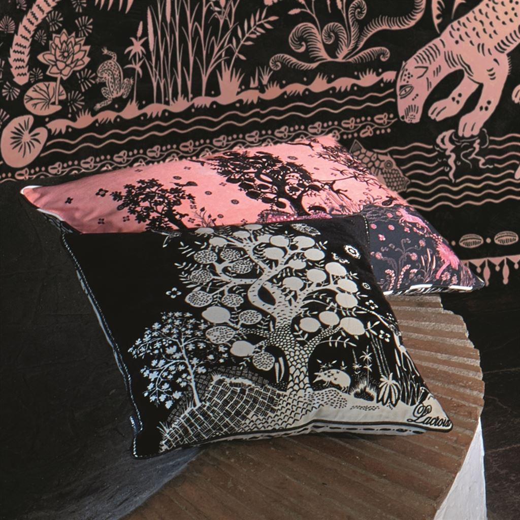 Christian Lacroix Clairiere Primevere Decorative Pillow Shown with other pillows