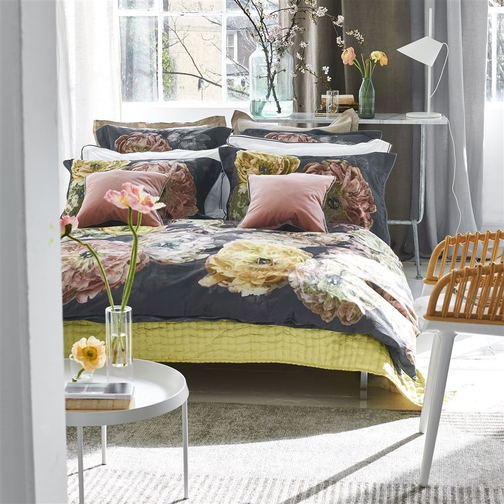 Designers Guild Le Poeme De Fleurs Midnight  - Shown with Ochre and Fresh sunny yellow