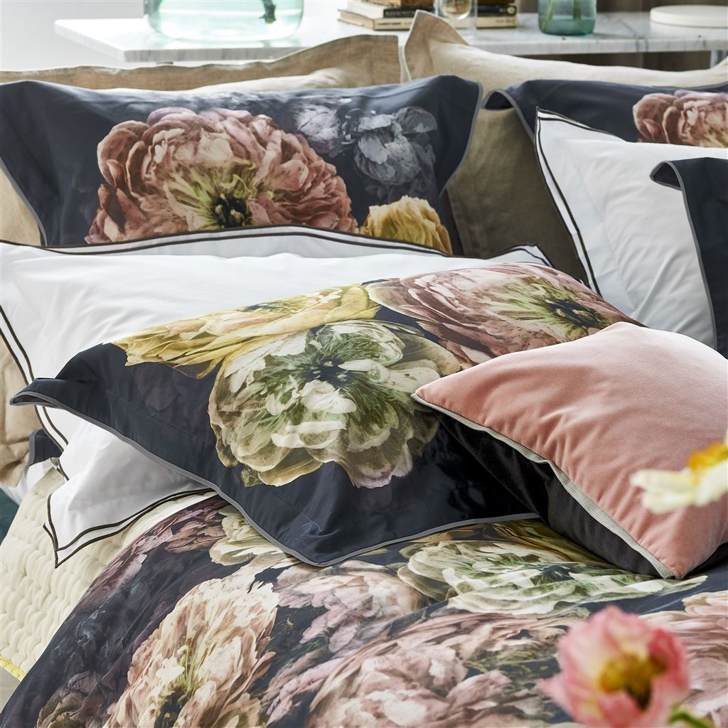 Designers Guild Le Poeme De Fleurs Midnight - Shams on Bed | Fig Linens