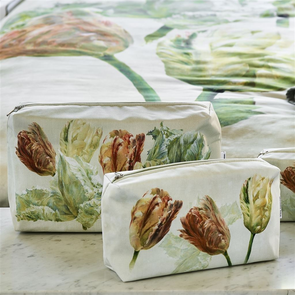 Designers Guild Spring Tulip Buttermilk Toiletry Bags at Fig Linens