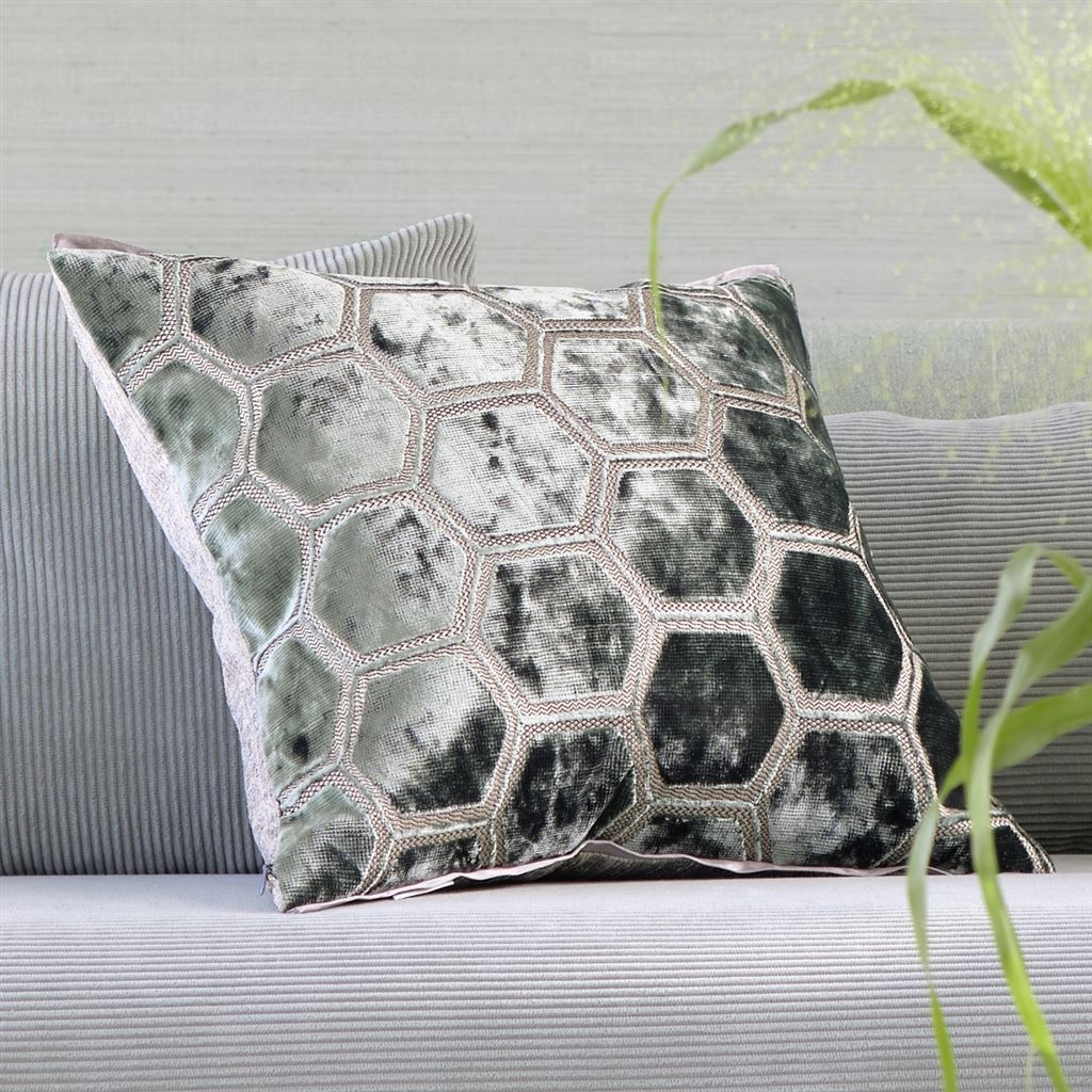 Designers Guild Manipur Jade Decorative Pillow on Sofa | Fig Linens