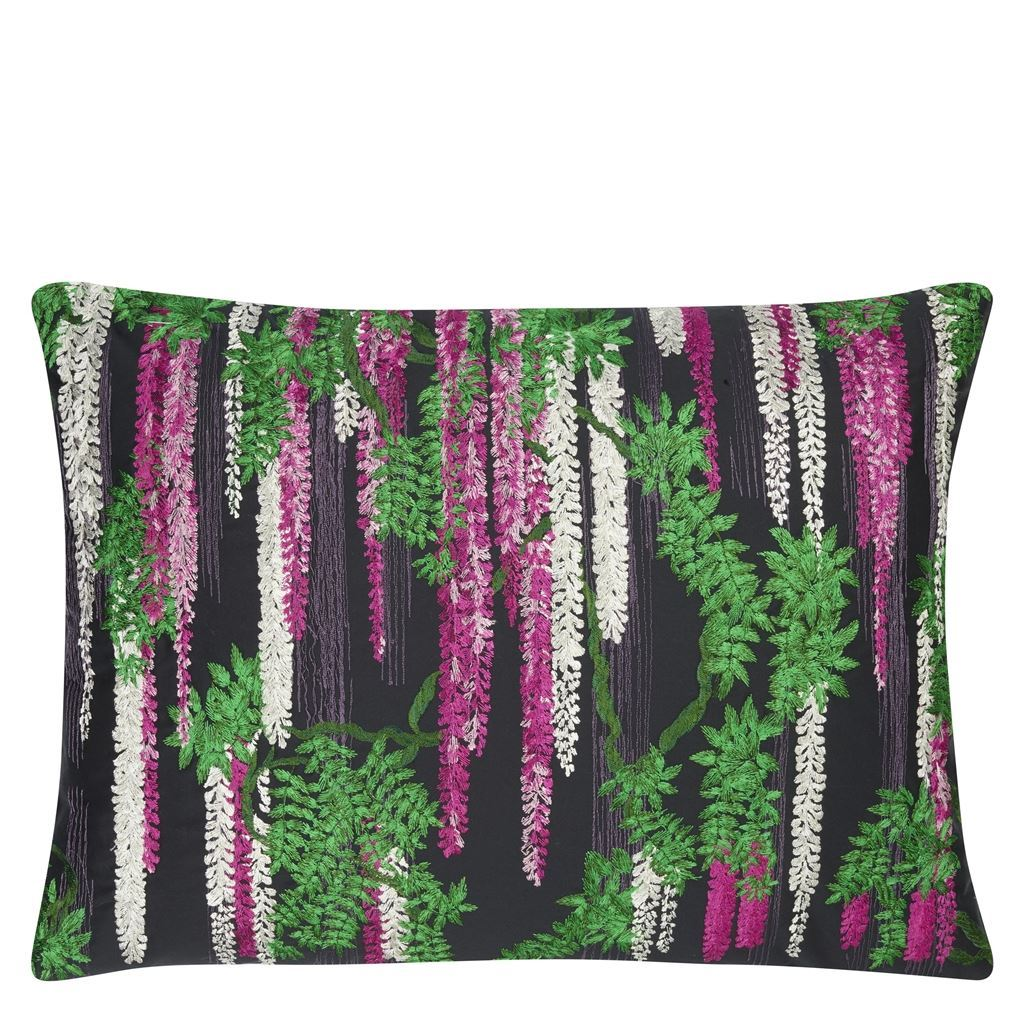 Wisteria Alba Magenta Decorative Pillow by Christian Lacroix