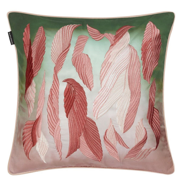 Cascade Bourgeon Decorative Pillow - Front in Pink and Green