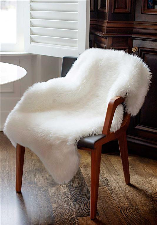Ivory Bear Faux Fur on Chair