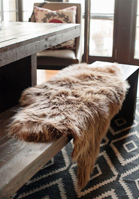 Sienna Bear Faux Fur Chair Cover on Bench