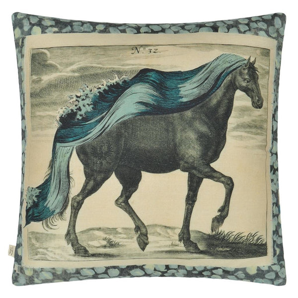 John Derian Manes Delft Decorative Pillow | Horse Mane View | Designers Guild