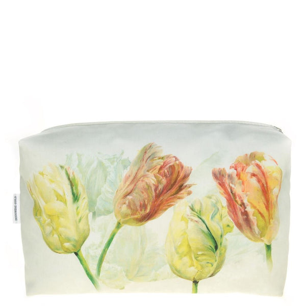 Designers Guild Spring Tulip Buttermilk Large Toiletry Bag - Reverse of Bag