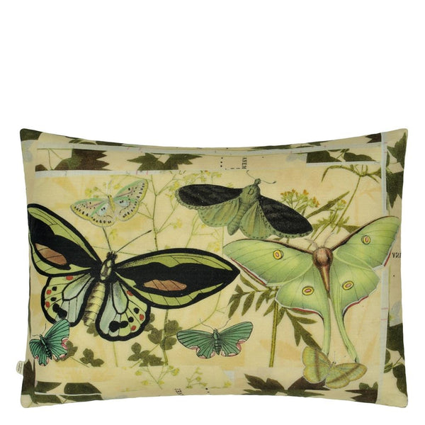 Floral Aviary Parchment Decorative Pillow - Reverse to Butterflies | Designers Guild at Fig Linens