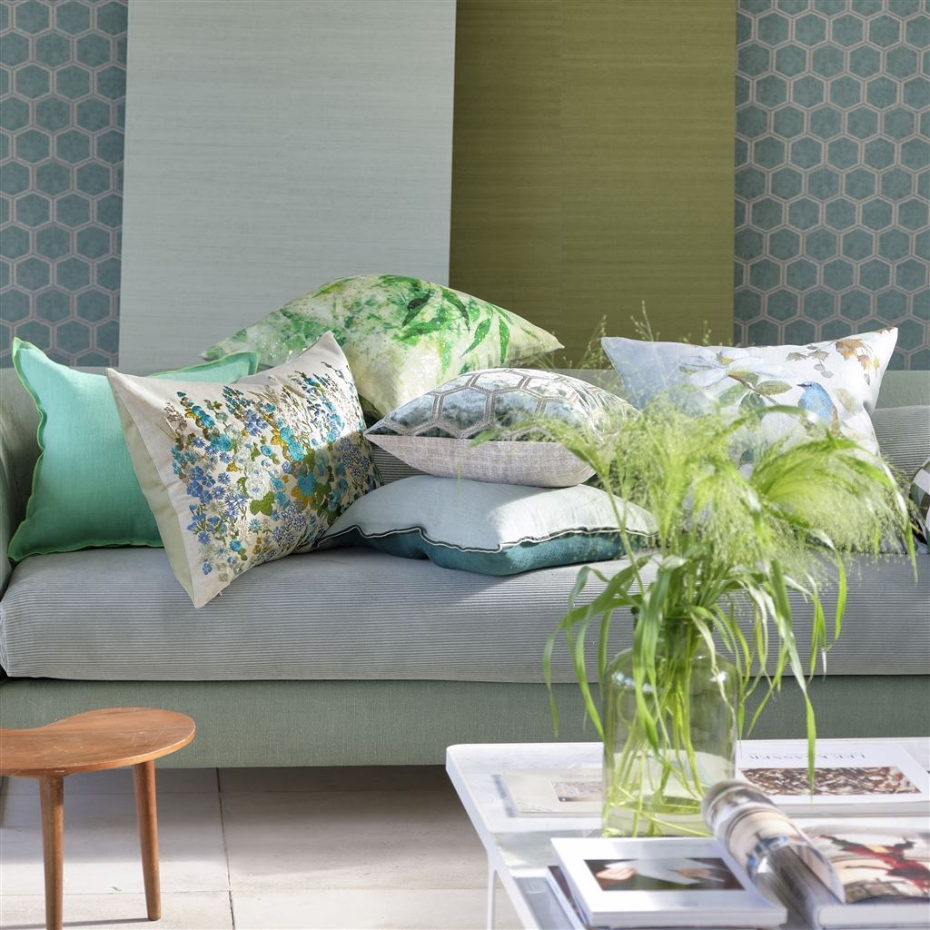 Hollyhock Pillow with Celadon Coordinates | Designers Guild Cushions