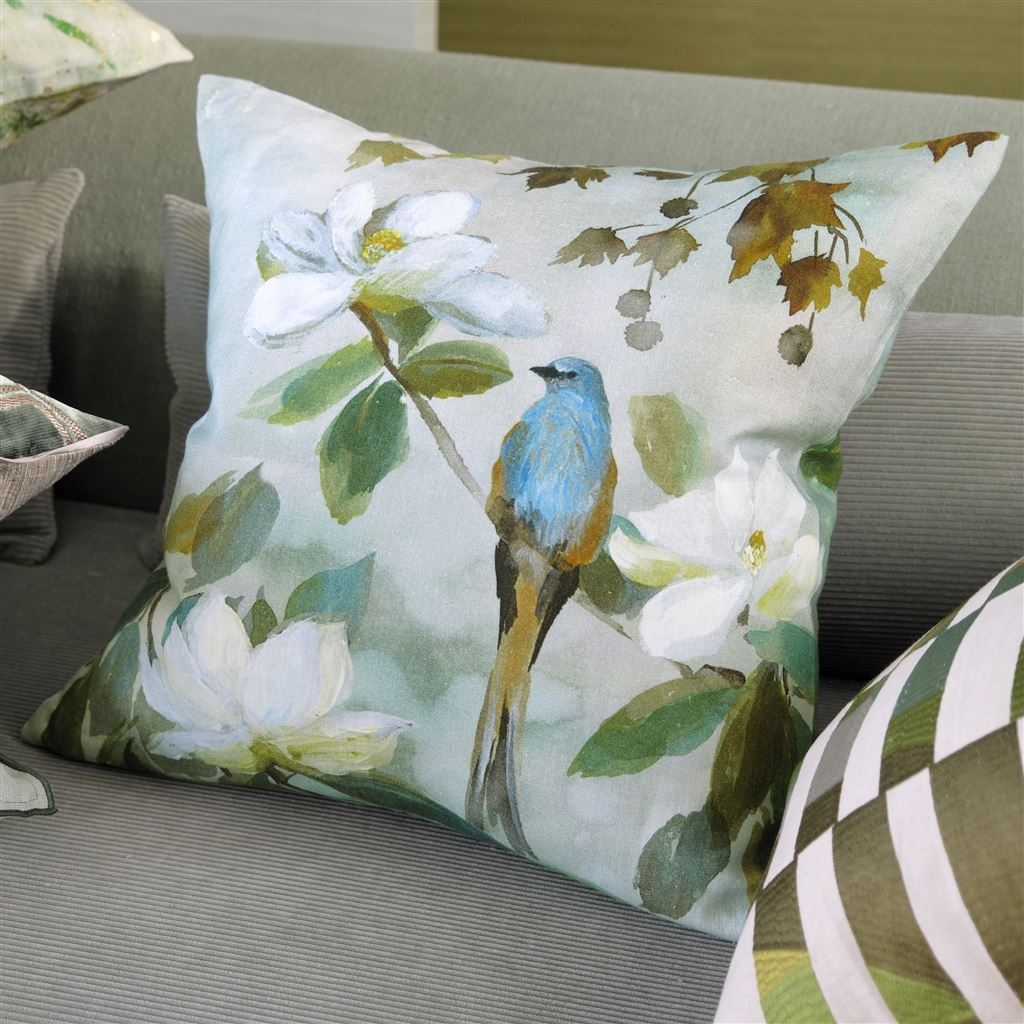 Lifestyle View of Kiyosumi Celadon Decorative Pillow | Designers Guild at Fig Linens and Home