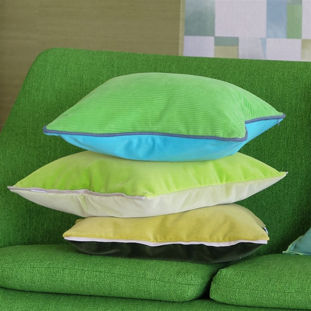 Designers Guild Varese Apple & Leaf Decorative Pillow Stack of Pillows