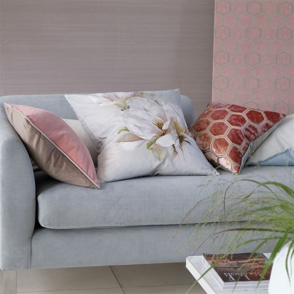 Designers Guild Manipur Coral Decorative Pillow on Sofa | Fig Linens and Home