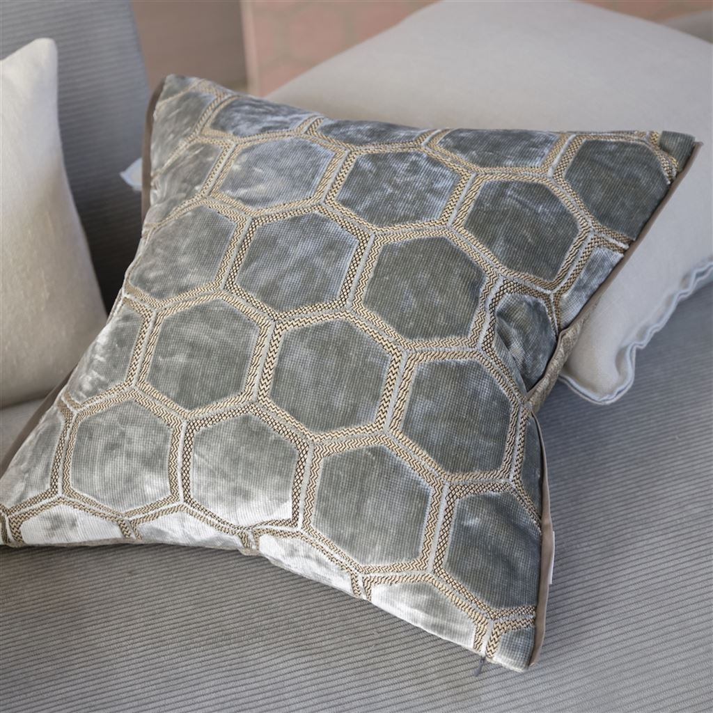 Designers Guild Manipur Silver Decorative Pillow | Fig Linens and Home
