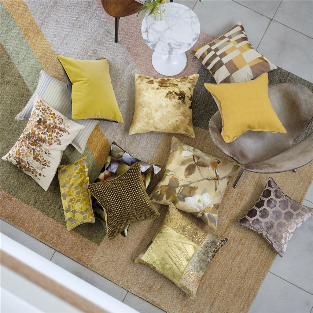 Designers Guild Maple Tree Sepia Pillow shown with Ochre Cushions