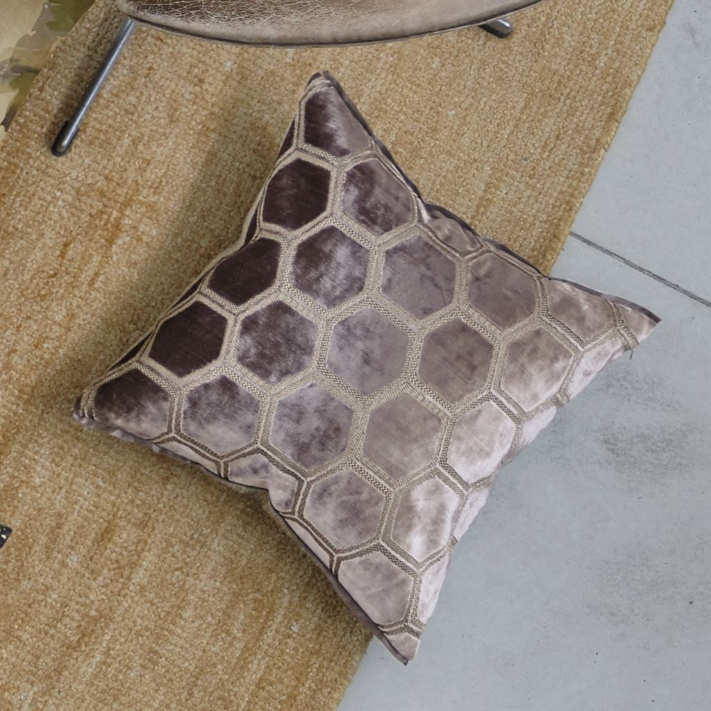 Designers Guild Manipur Amethyst Decorative Pillow on Floor