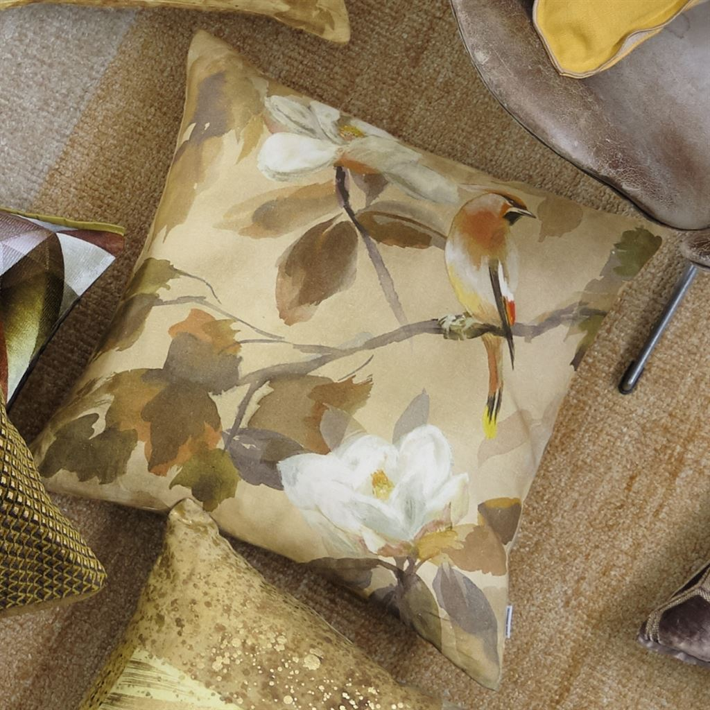 Designers Guild Maple Tree Sepia Pillow  Image on Floor