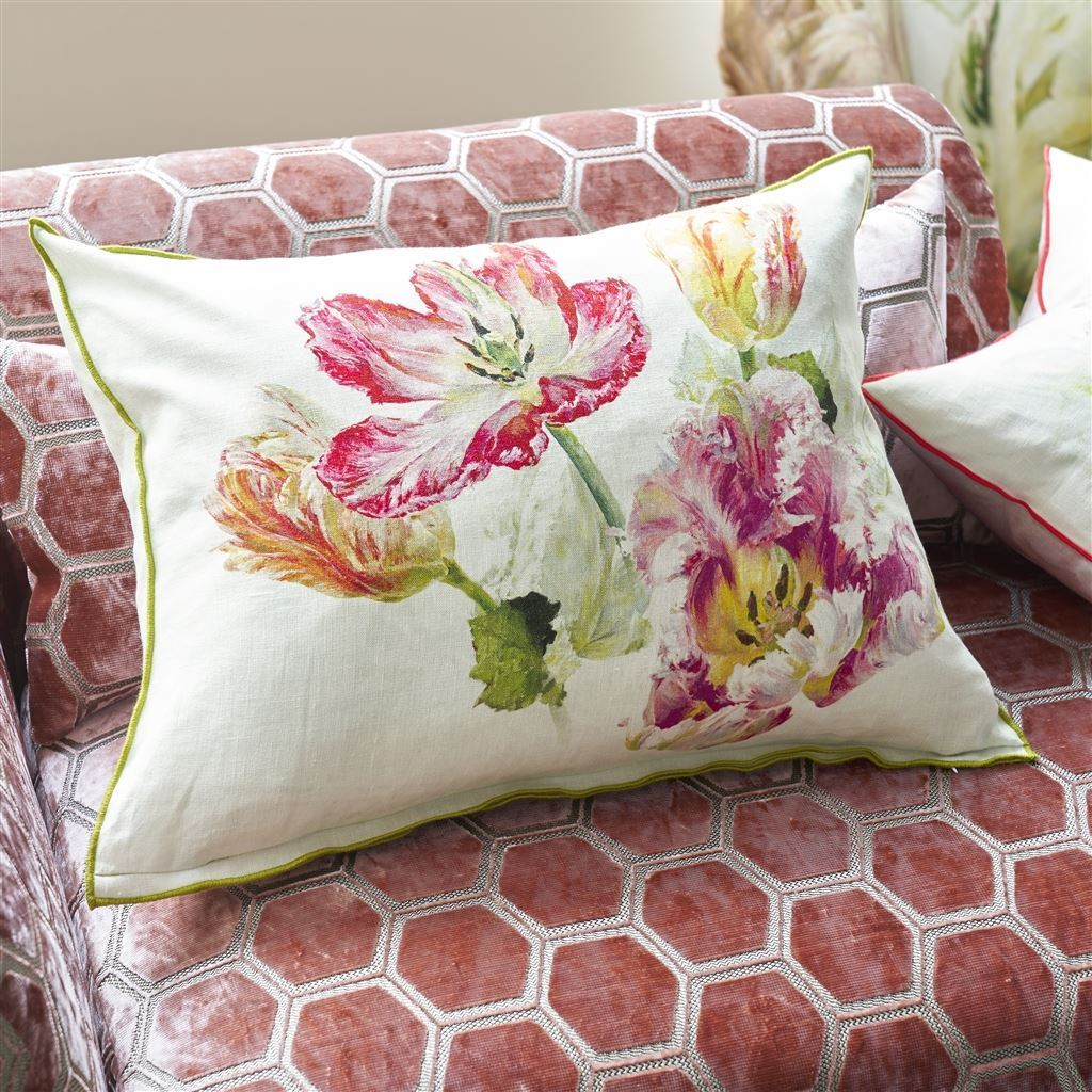 Designers Guild Spring Tulip Buttermilk Decorative Pillow on Sofa