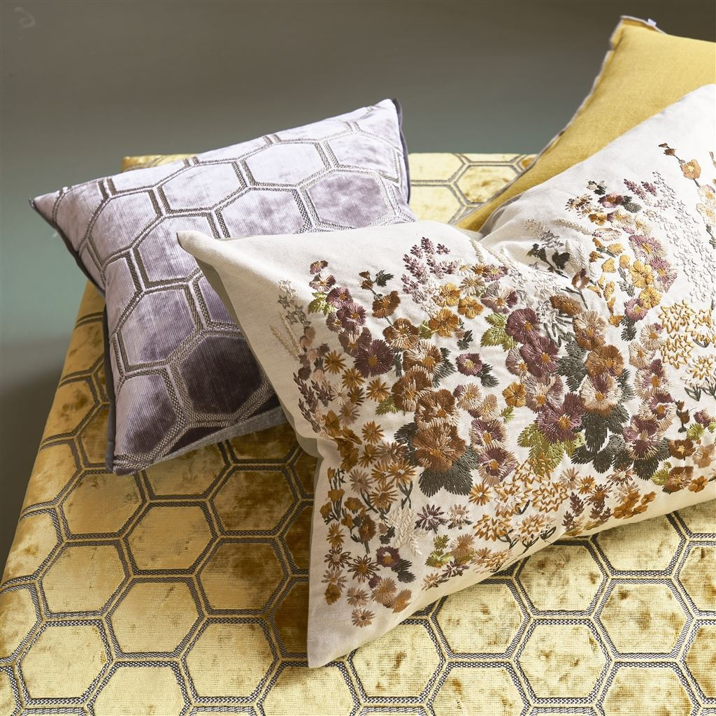 Designers Guild Manipur Amethyst Pillow Shown with Coordinates | Fig Linens
