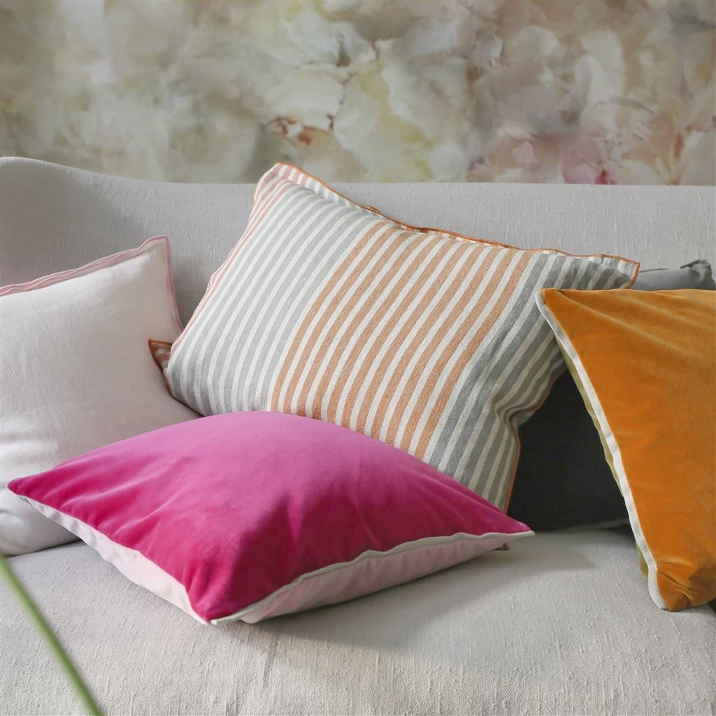 Designers Guild Varese Magenta & Blossom Decorative Pillow shown on Sofa with Brera
