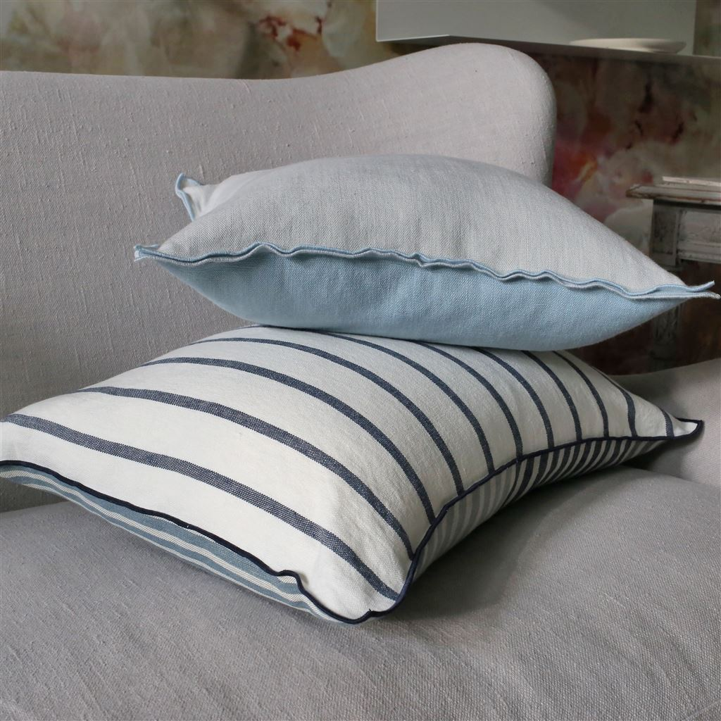 Designers Guild Brera Lino Sky & Cloud Decorative Pillow shown with Brera Colorato