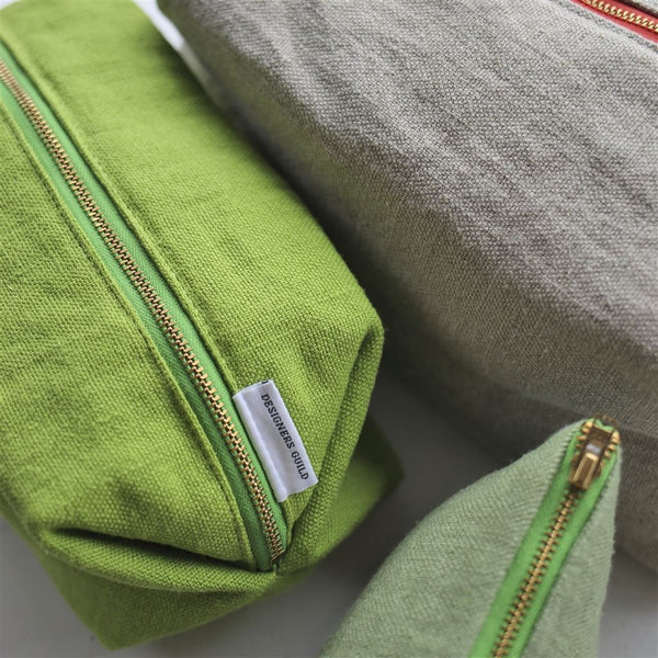 Designers Guild Brera Lino Olive Small Toiletry Bags in Olive