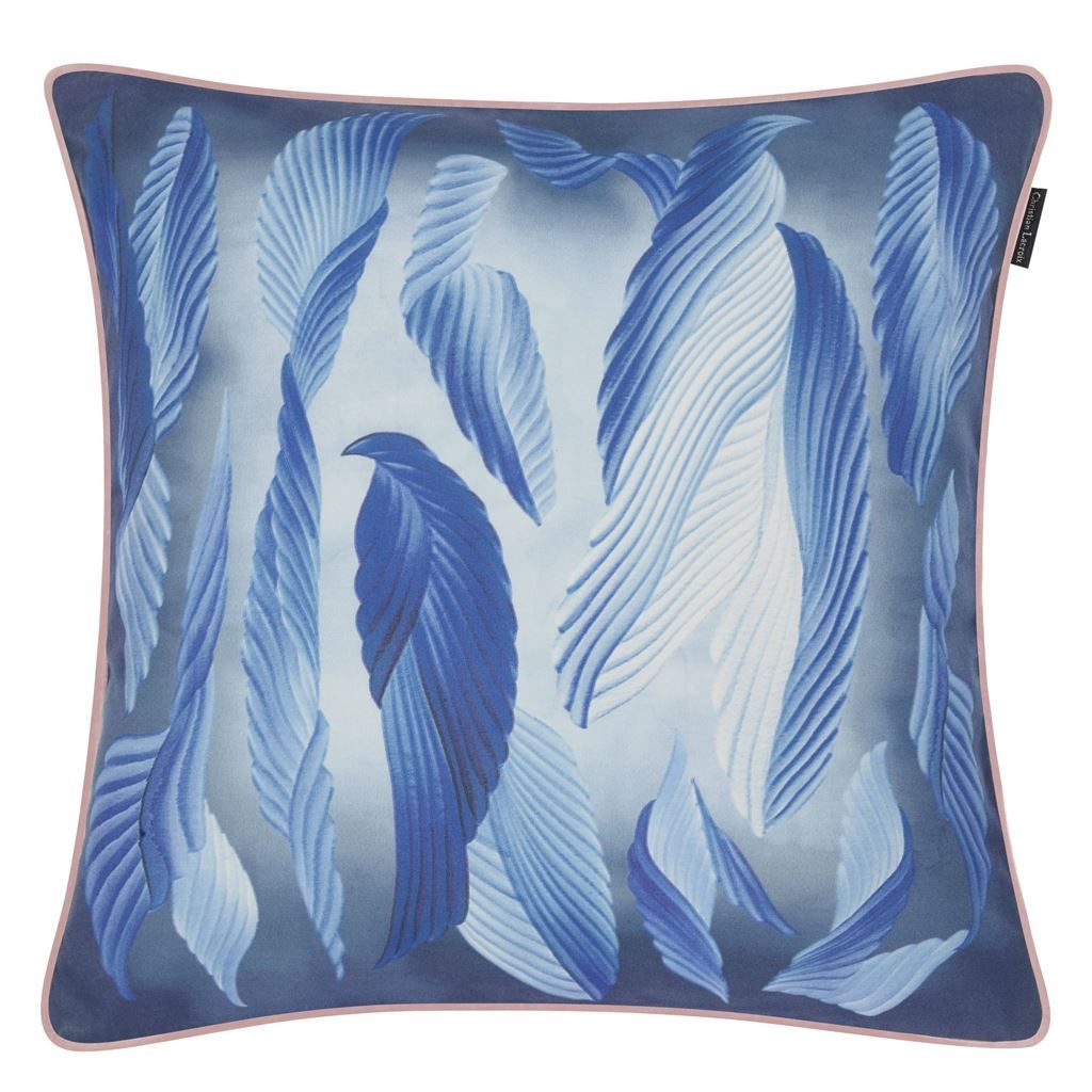 Cascade Bourgeon Decorative Pillow - Reverse in Midnight Blue