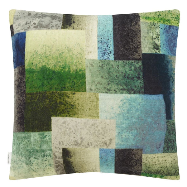 Designers Guild Parterre Geo Emerald Decorative Pillow - Reverse