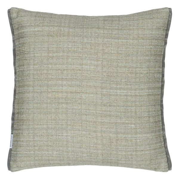 Designers Guild Manipur Silver Decorative Pillow Reverse to Solid