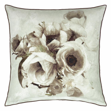 Sepia Flower Birch Decorative Pillow - Reverses to Floral - Designers Guild