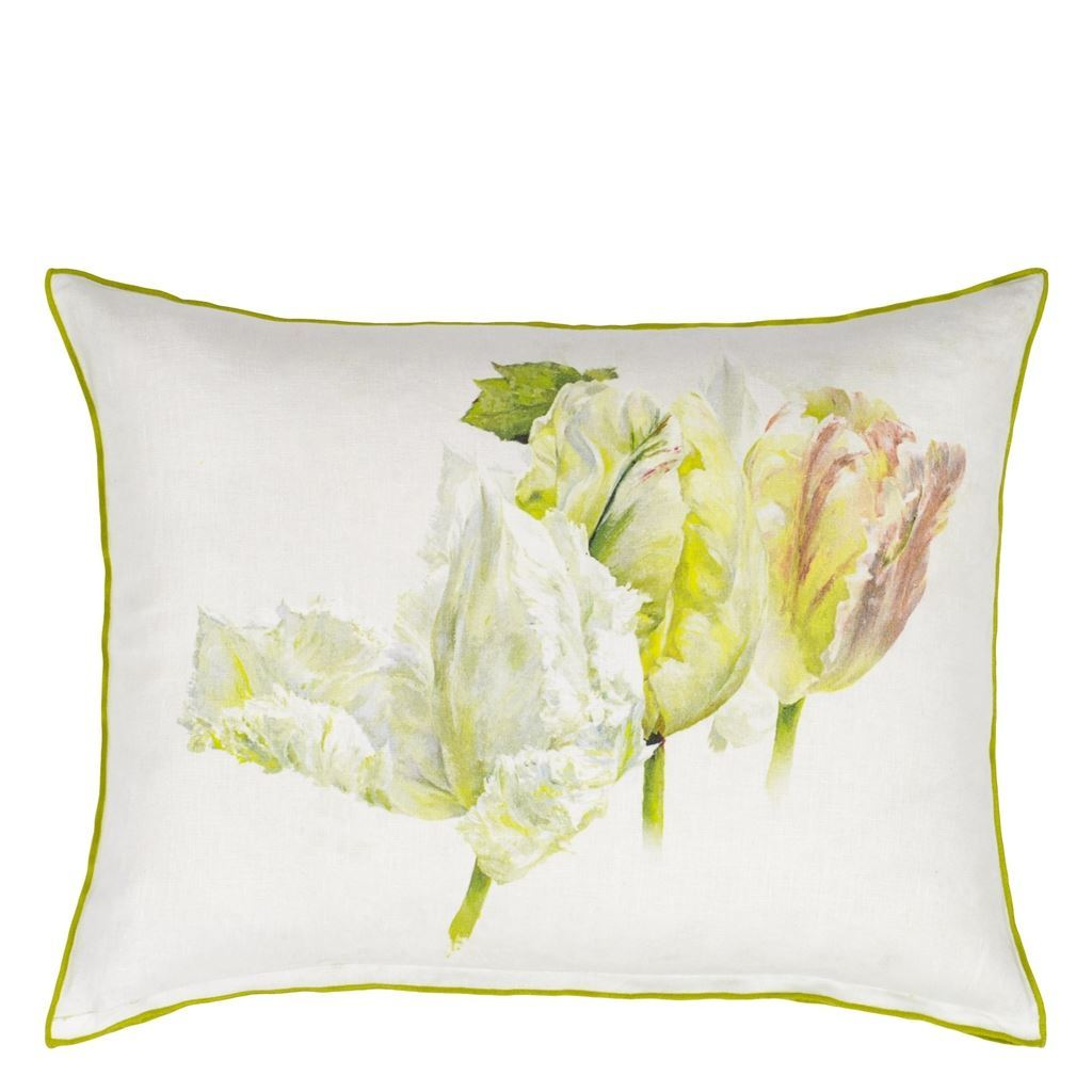 Designers Guild Spring Tulip Buttermilk Decorative Pillow - Reverse View