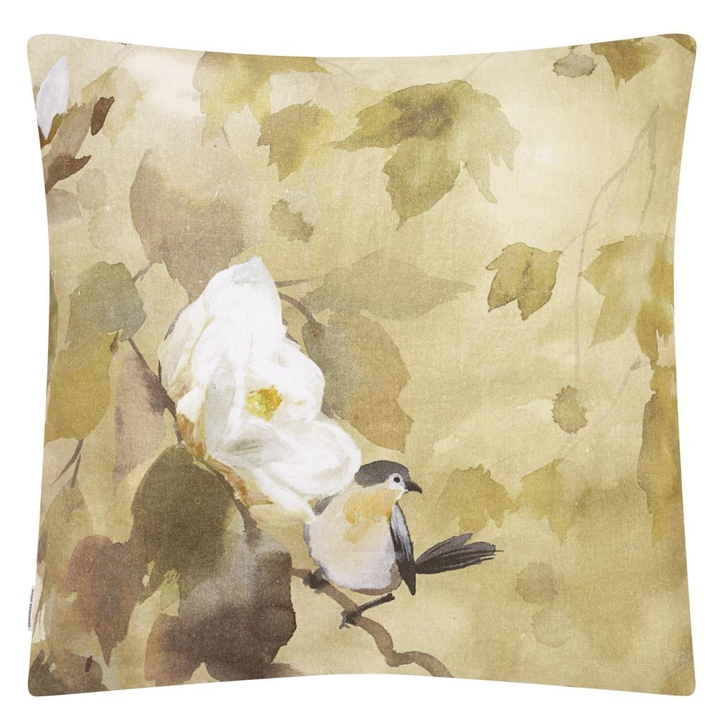 Designers Guild Maple Tree Sepia Pillow | Neutral Bird Pillow - Reverse