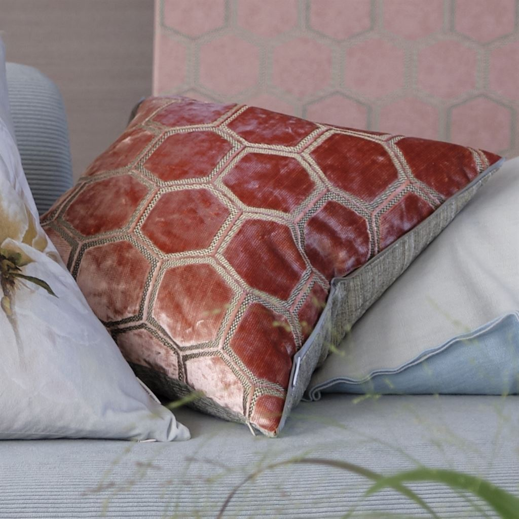 Designers Guild Manipur Coral Decorative Pillow Stacked with Floral Pillows