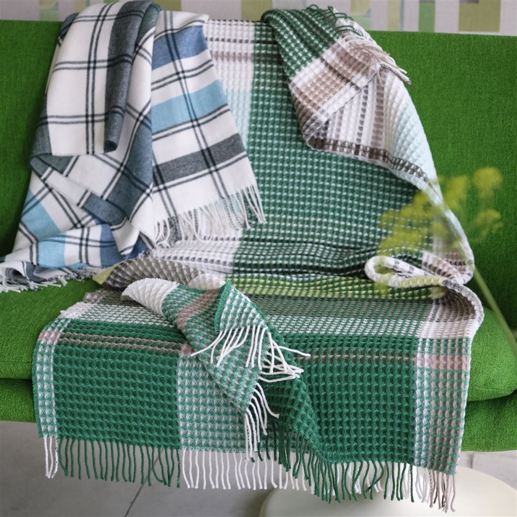 Designers Guild Throws | Bayswater Teal Blanket
