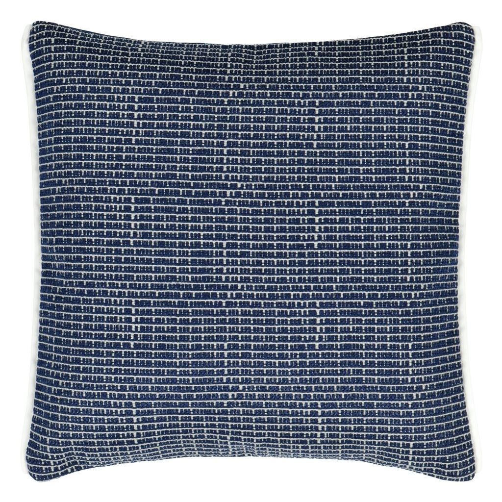 Designers Guild Pompano Indigo Decorative Outdoor Pillow - Front of Cushion