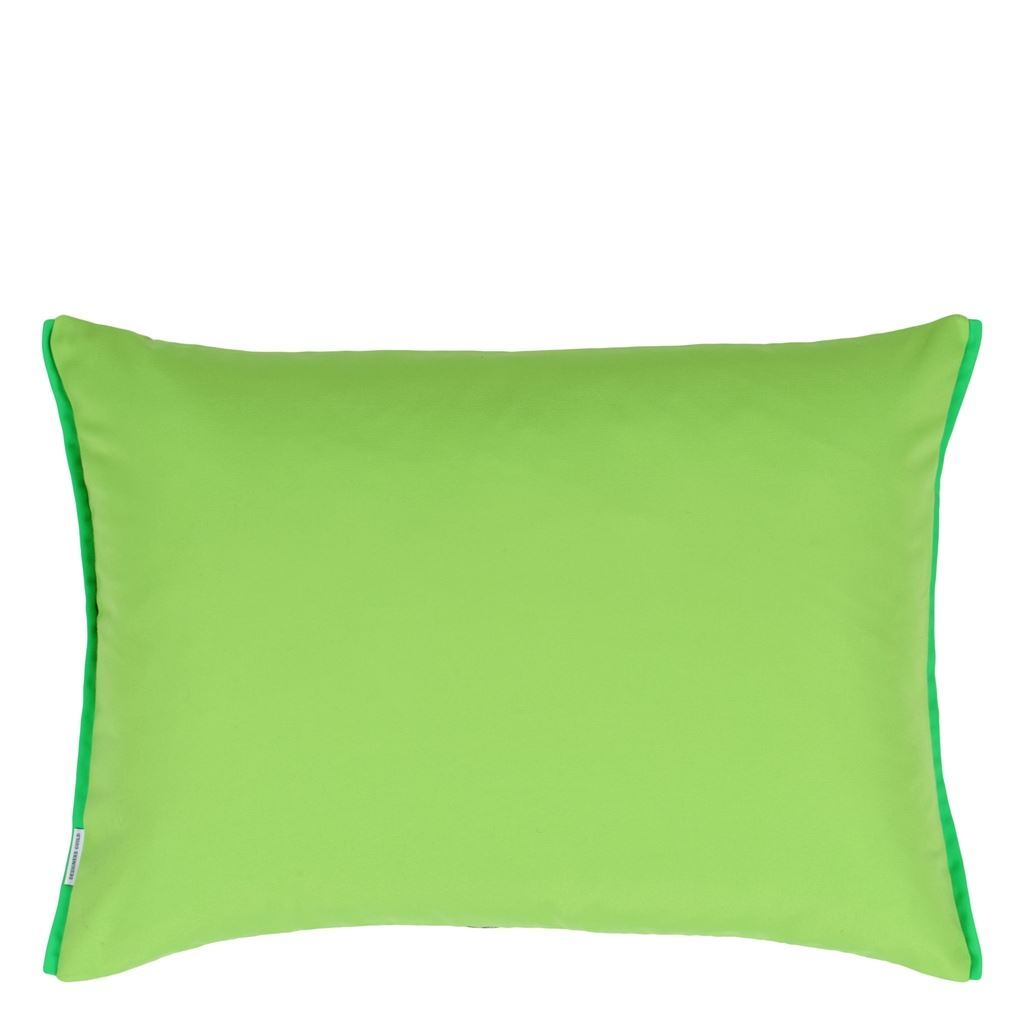 Designers Guild Outdoor Acanthus Moss Decorative Pillow - Reverses to Solid Moss Green