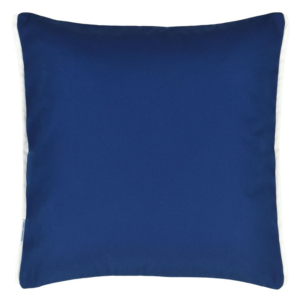 Designers Guild Pompano Indigo Decorative Outdoor Pillow - Reverse of Cushion