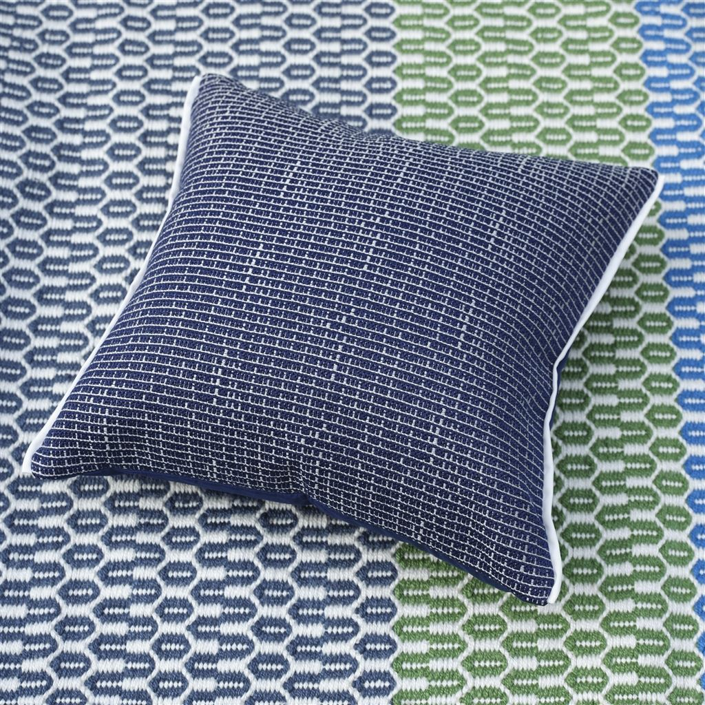 Designers Guild Pompano Indigo Decorative Outdoor Pillow on Exterior Indoor/Outdoor Rug