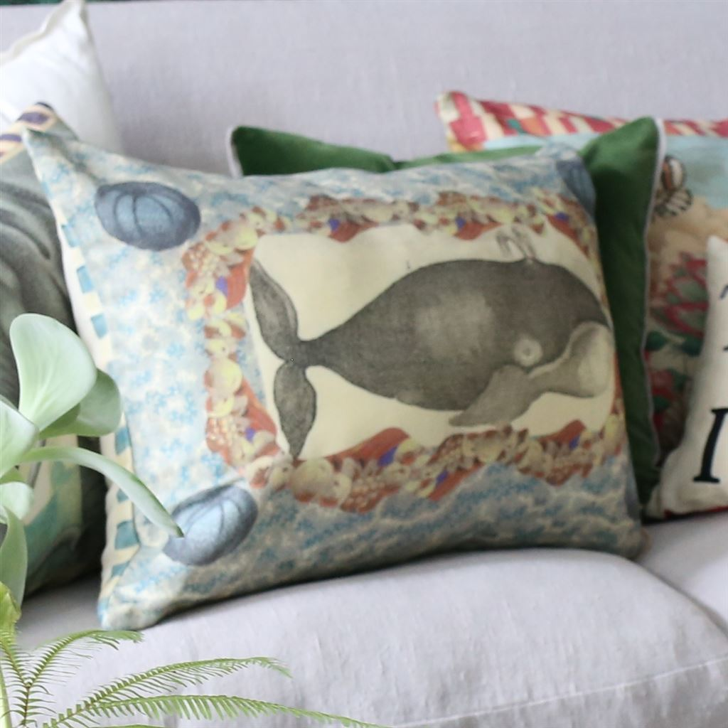 Designers Guild Blue Coral Delft Pillow - Whale and Ship