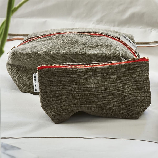 Designers Guild Brera Lino Walnut Small Toiletry Bag