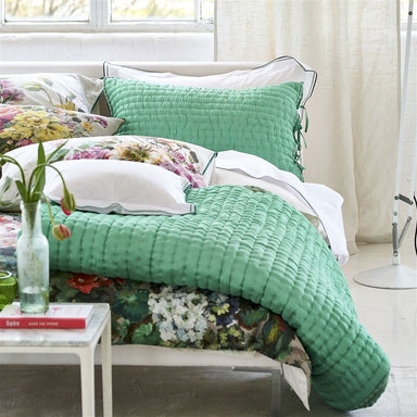 Designers Guild Chenevard Eau de Nil and Celadon Silk Quilts