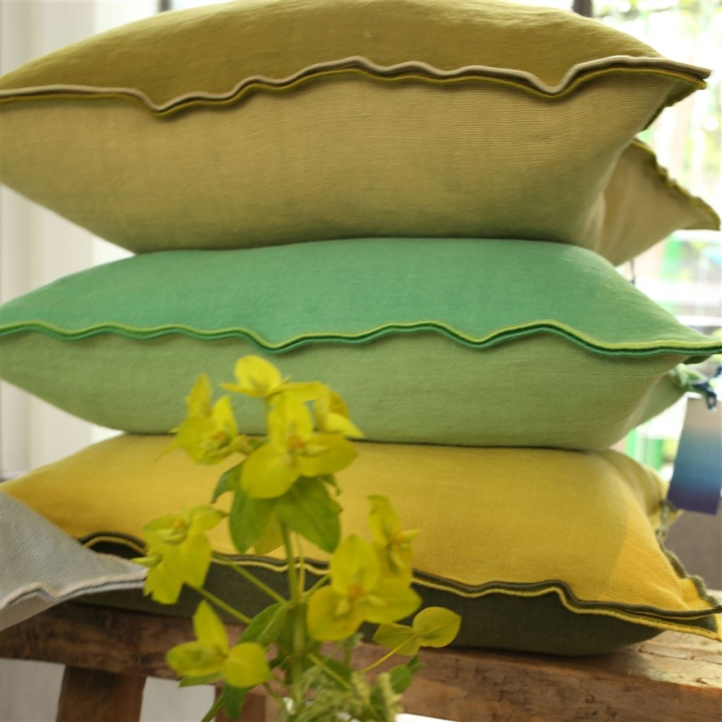 Designers Guild - Brera Lino Forest & Alchemilla Decorative Pillow | Fig Linens