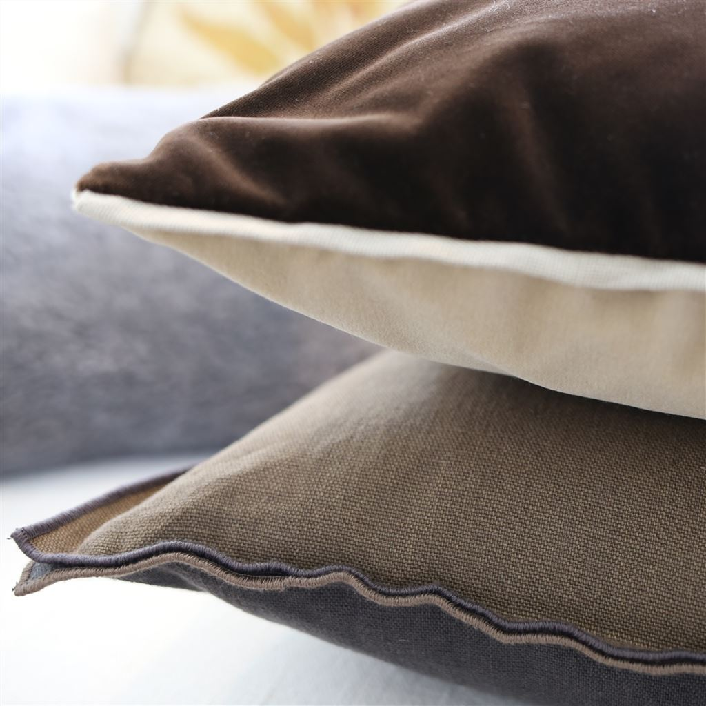 Fig Linens - Designers Guild Varese Linen & Cocoa Decorative Pillows