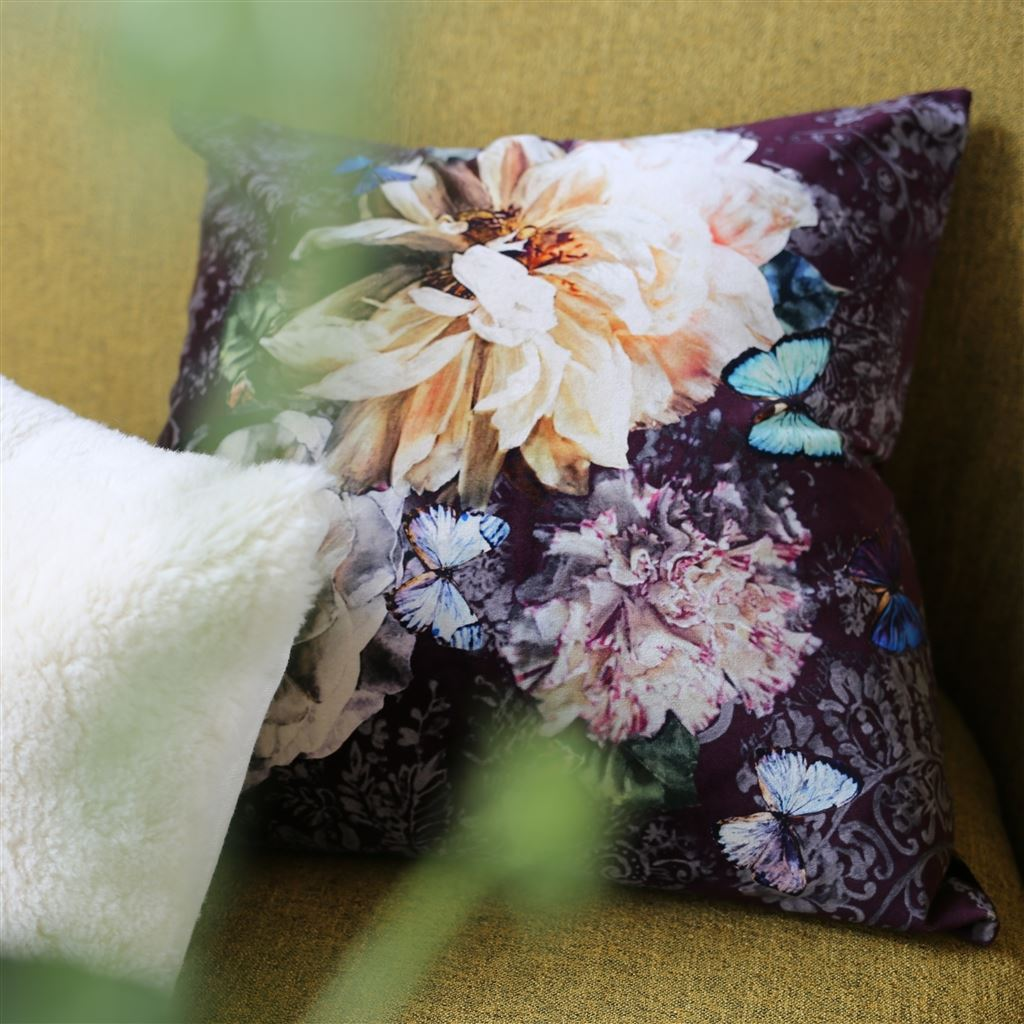 Fig Linens - Designers Guild Pahari Rosewood Floral Decorative Pillow