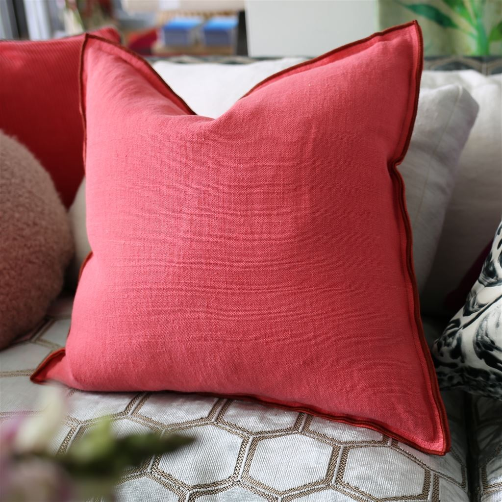 Fig Linens - Brera Lino Rosewood & Azalea Decorative Pillow