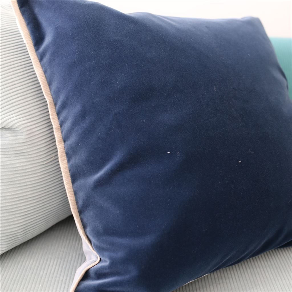 Fig Linens - Designers Guild - Varese Prussian & Smoke Decorative Pillow - Front