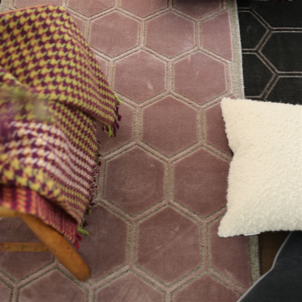 Detail of Designers Guild Manipur Amethyst Floor Rugs at Fig Linens