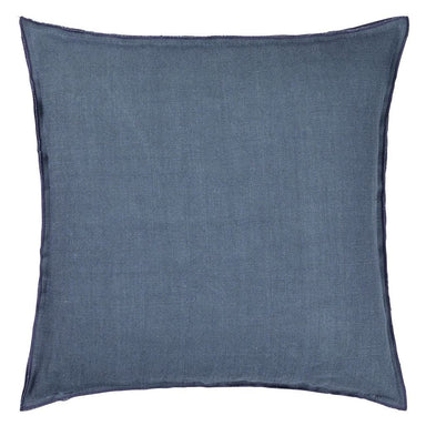 Fig Linens - Brera Lino Lagoon & Marine Decorative Pillow - Back