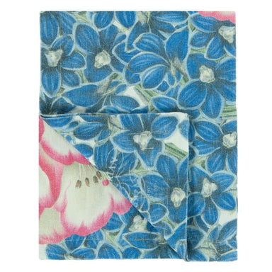 John Derian Rhododendron Cobalt Throw 1